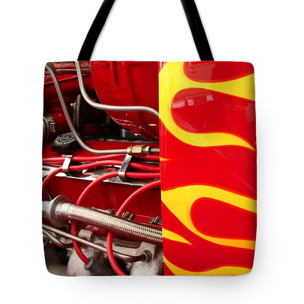 Cars Tote Bag featuring the photograph Hot Rod Art Work And Engine by Karl Rose