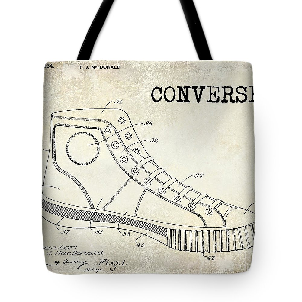Patent Drawing Tote Bag featuring the photograph 1934 Converse Shoe Patent  Drawing by Jon Neidert d69dc19919e34