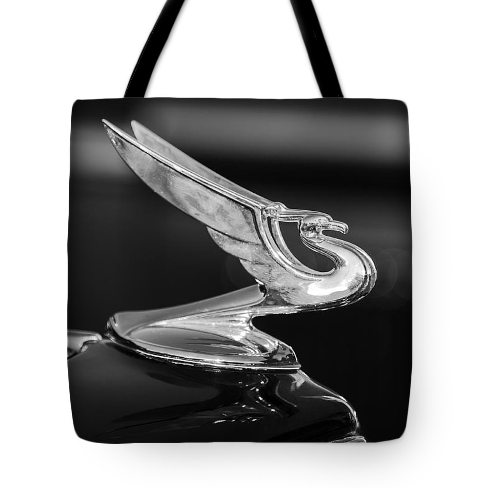 1935 Chevrolet Sedan Tote Bag featuring the photograph 1935 Chevrolet Sedan Hood Ornament -479bw by Jill Reger