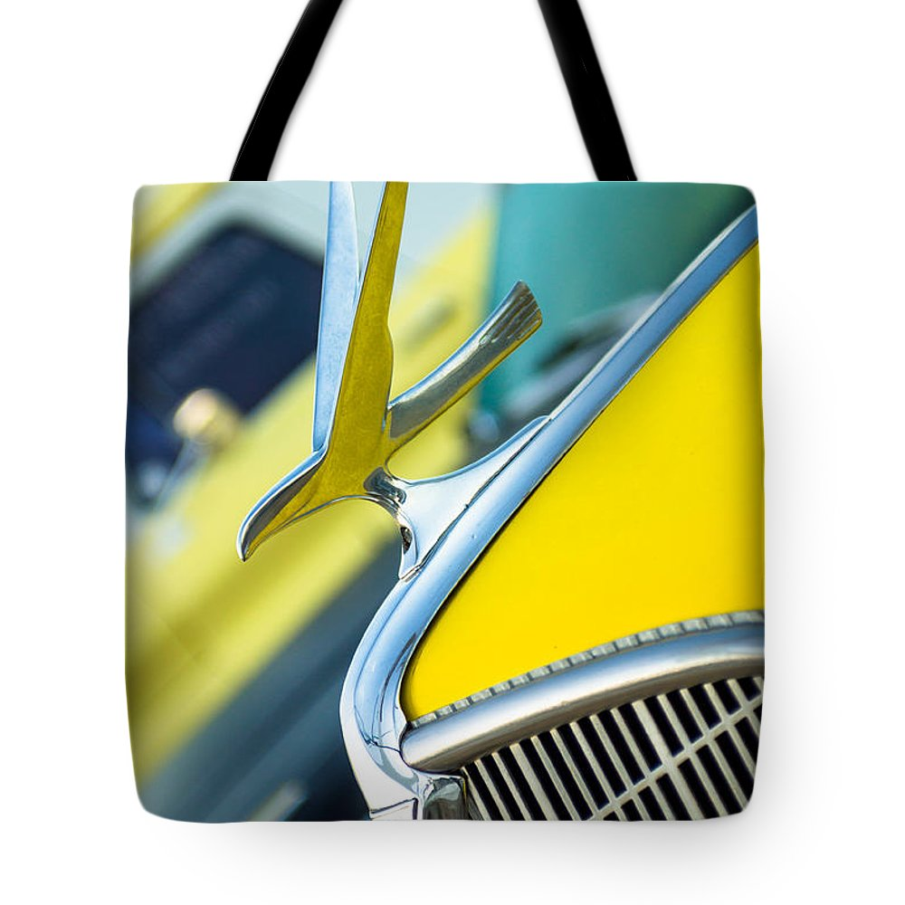 Abstract Tote Bag featuring the photograph 1935 Hudson Hood Ornament by Imagery by Charly