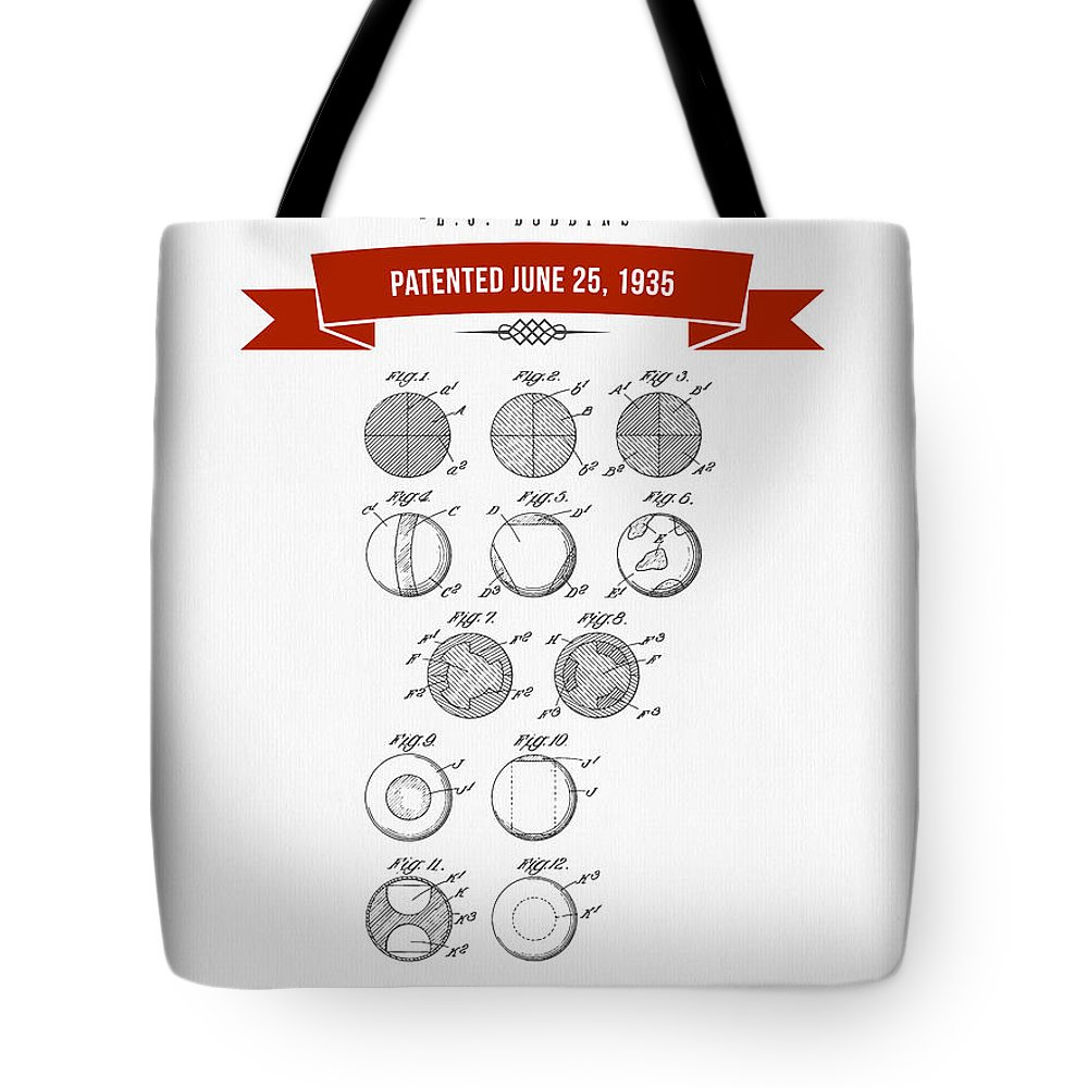 Lacrosse Tote Bag featuring the digital art 1935 India Rubber Ball Patent Drawing - Retro Red by Aged Pixel