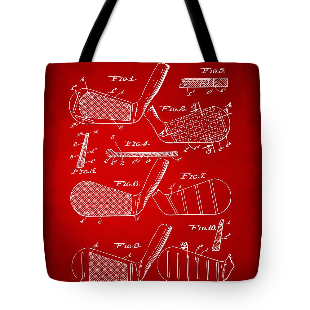 Golf Tote Bag featuring the digital art 1936 Golf Club Patent Artwork Red by Nikki Marie Smith