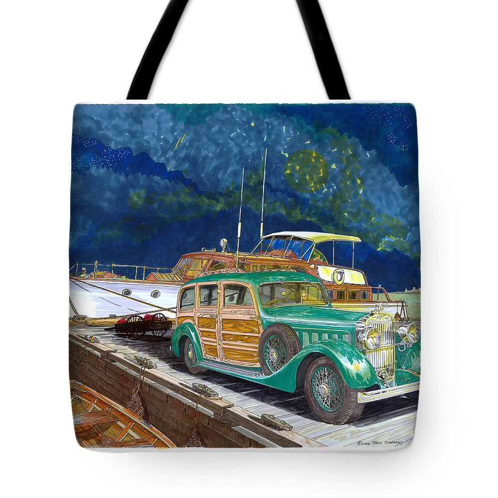 Classic Car Art Tote Bag featuring the painting 1936 Hispano Suiza Shooting Brake by Jack Pumphrey
