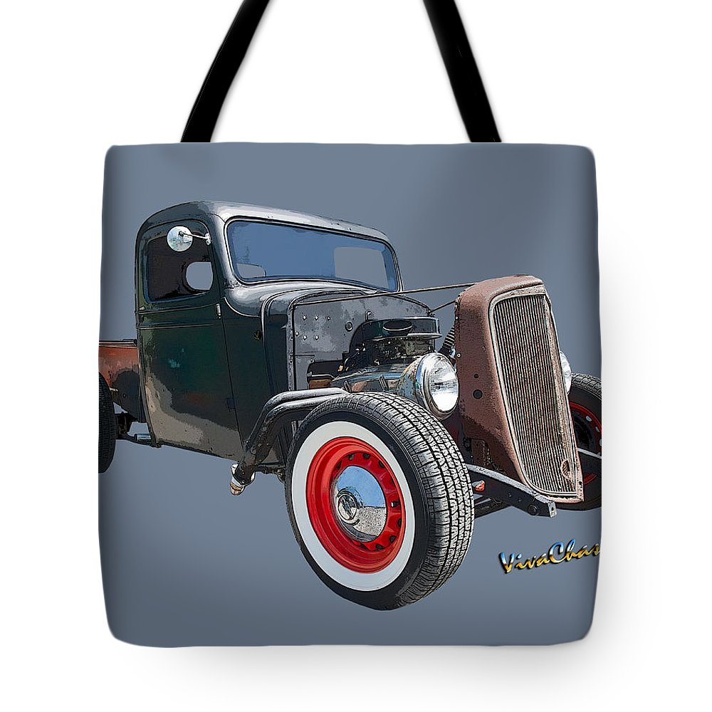 1936 Tote Bag featuring the photograph 1936 Rat Rod Chevy Pickup by Chas Sinklier