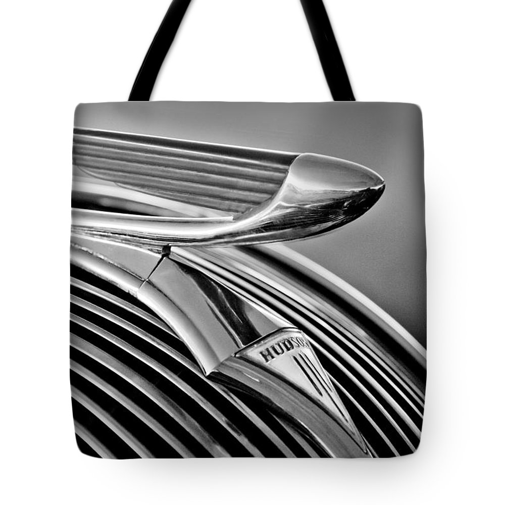 1937 Hudson Terraplane Sedan Tote Bag featuring the photograph 1937 Hudson Terraplane Sedan Hood Ornament 3 by Jill Reger