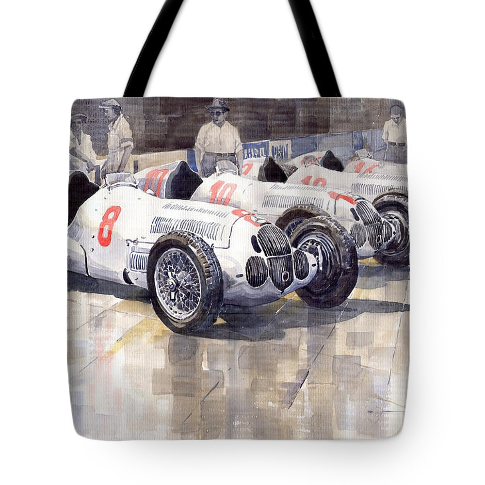Watercolour Tote Bag featuring the painting 1937 Monaco Gp Team Mercedes Benz W125 by Yuriy Shevchuk