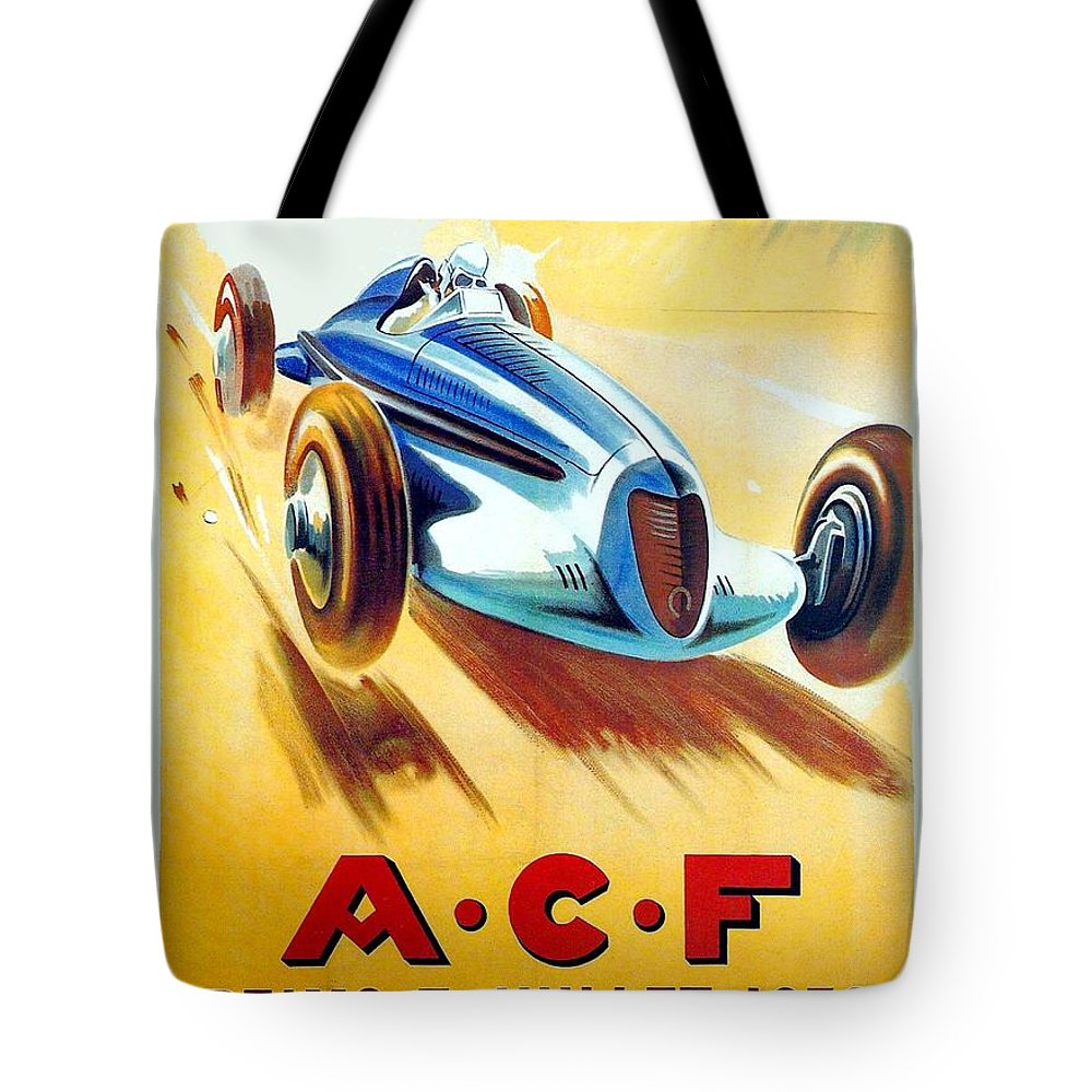1938 Tote Bag featuring the digital art 1938 - Automobile Club De France Poster - Reims - George Ham - Color by John Madison