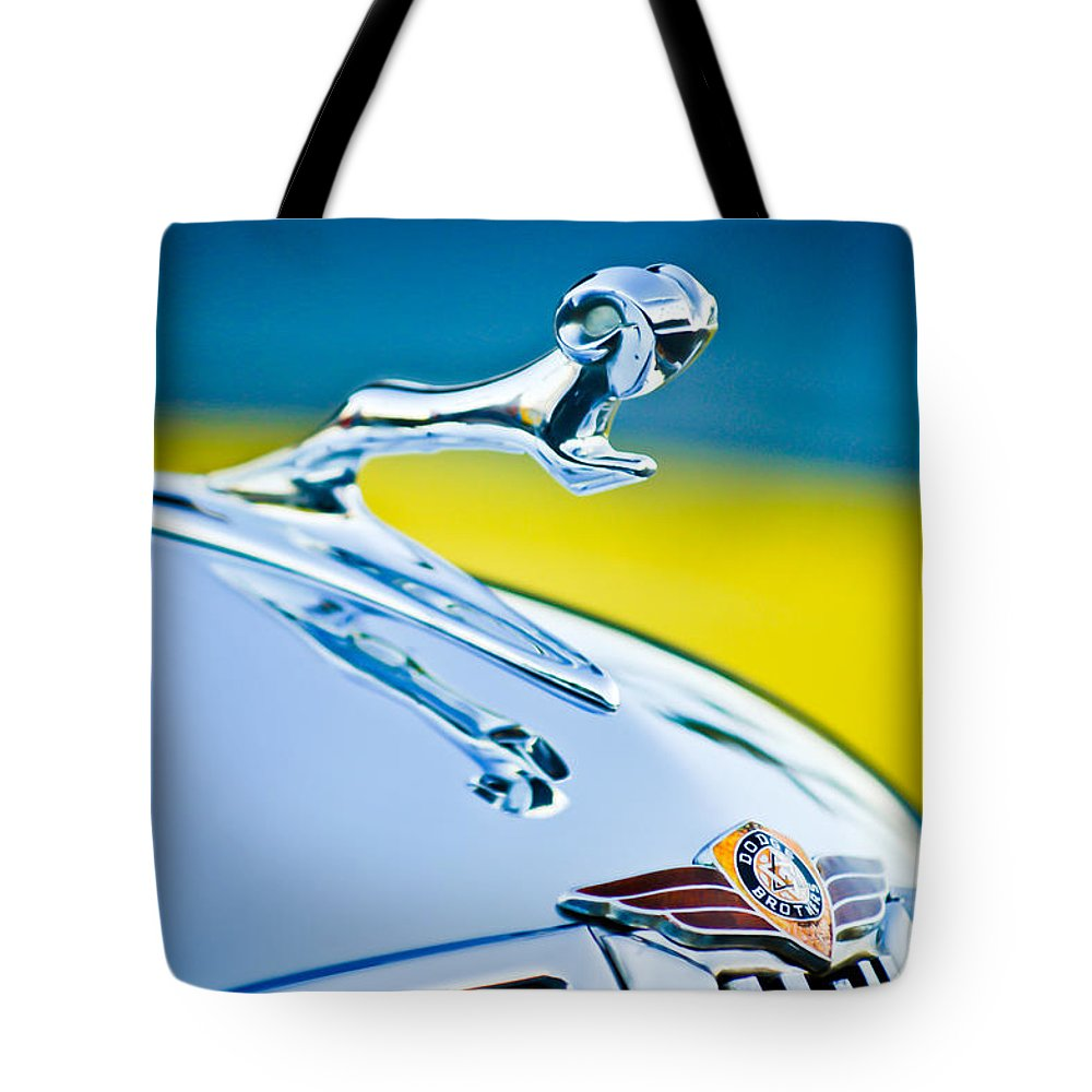 1938 Dodge Ram Hood Ornament Tote Bag featuring the photograph 1938 Dodge Ram Hood Ornament -136c46 by Jill Reger