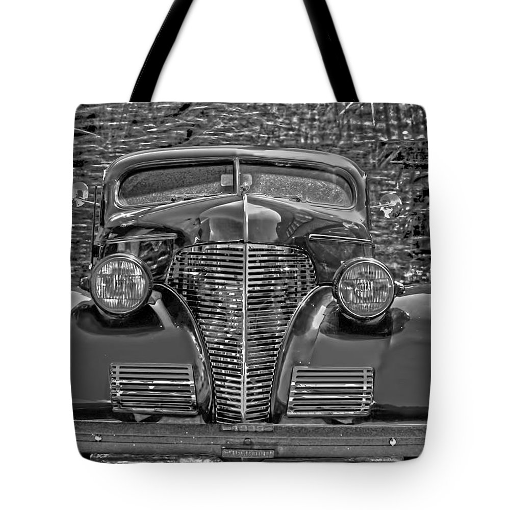 1939 Chevy Tote Bag featuring the photograph 1939 Chevy Immenent Front Bw Art by Lesa Fine