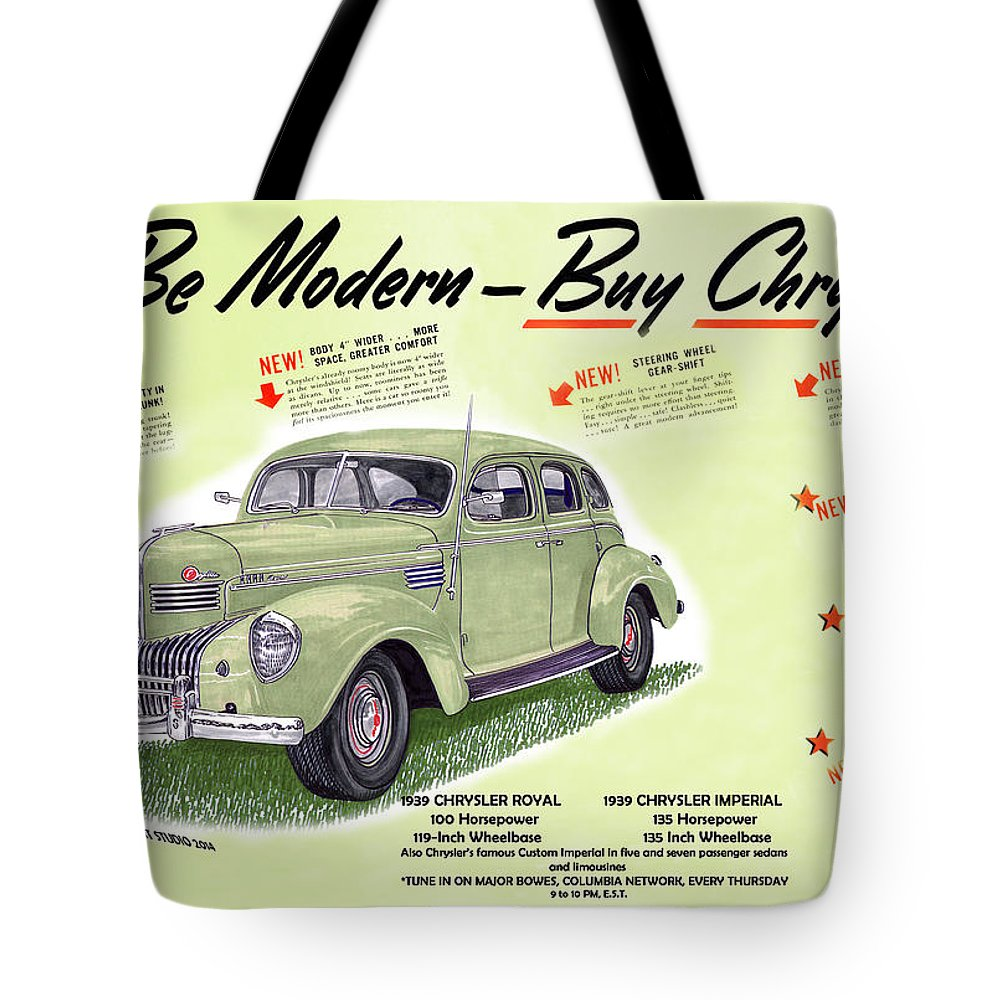 Vintage Automobile Ads Featuring The Artwork Of Jack Pumphrey Of The 1939 Chrysler Imperial Tote Bag featuring the painting 1939 Imperial Vintage Automobile Ad by Jack Pumphrey