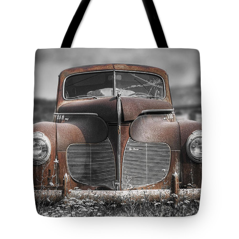Desoto Tote Bag featuring the photograph 1940 Desoto Deluxe With Spot Color by Scott Norris