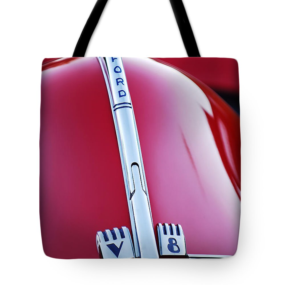 1940 Ford V8 Hood Ornament Tote Bag featuring the photograph 1940 Ford V8 Hood Ornament -323c by Jill Reger