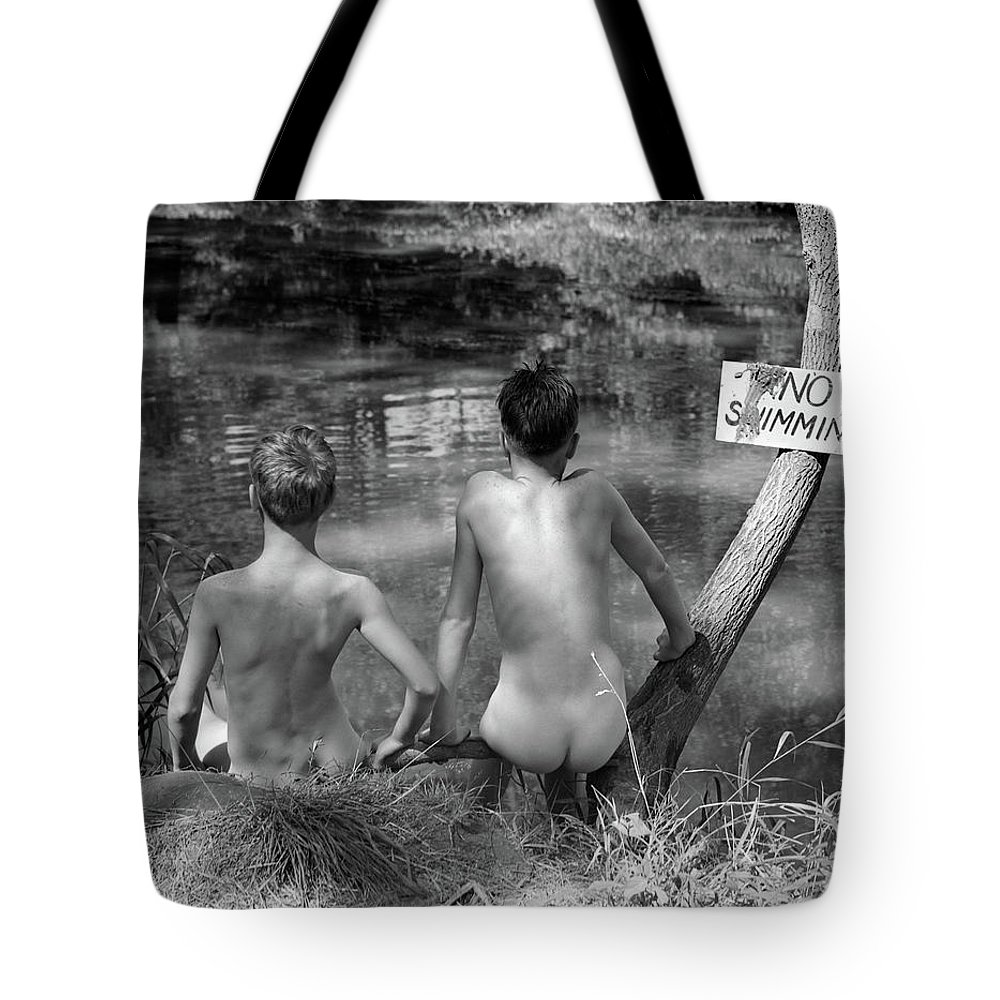 Photography Tote Bag featuring the photograph 1940s 1930s Two Boys Near Lake Under No by Vintage Images