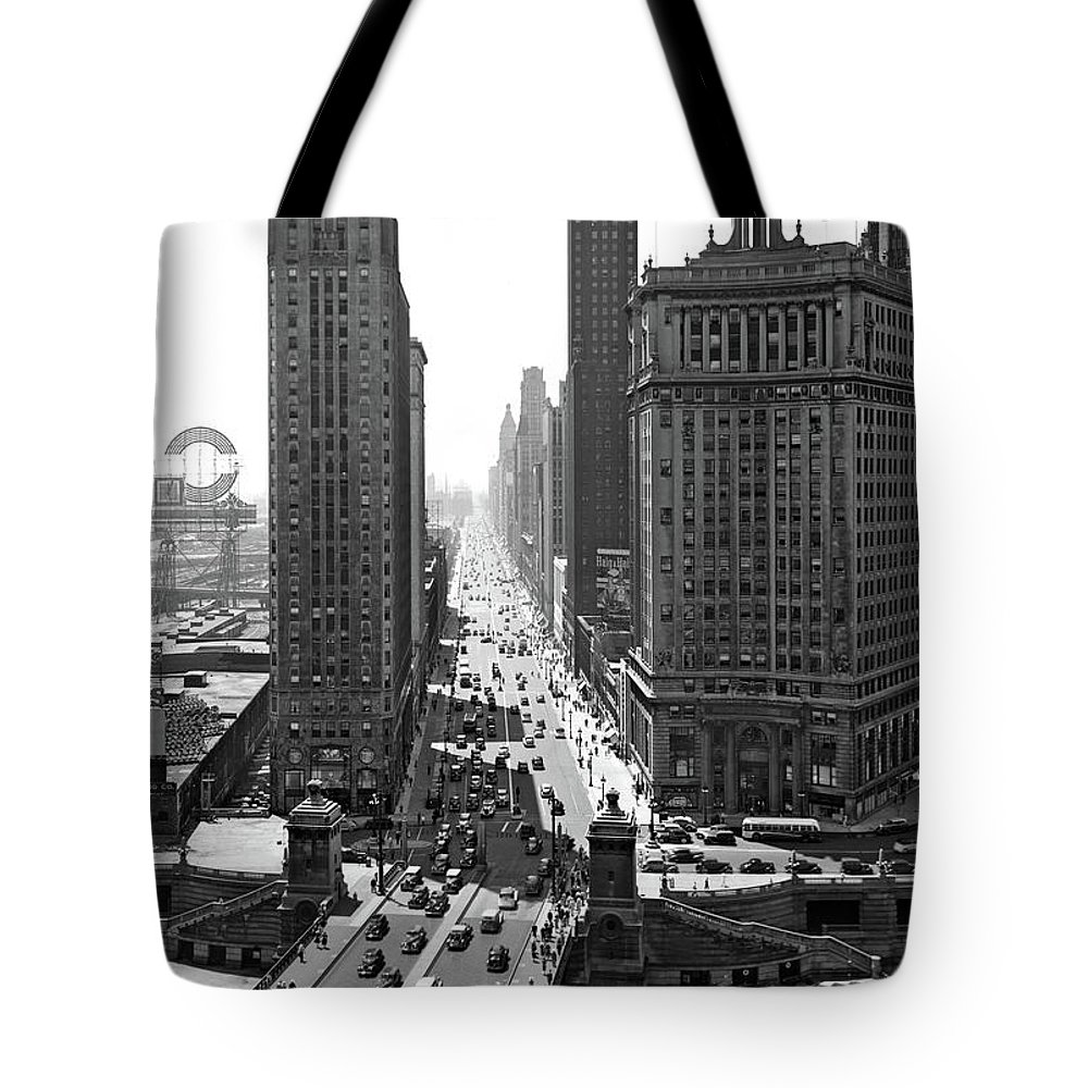 Photography Tote Bag featuring the photograph 1940s Downtown Skyline Michigan Avenue by Vintage Images
