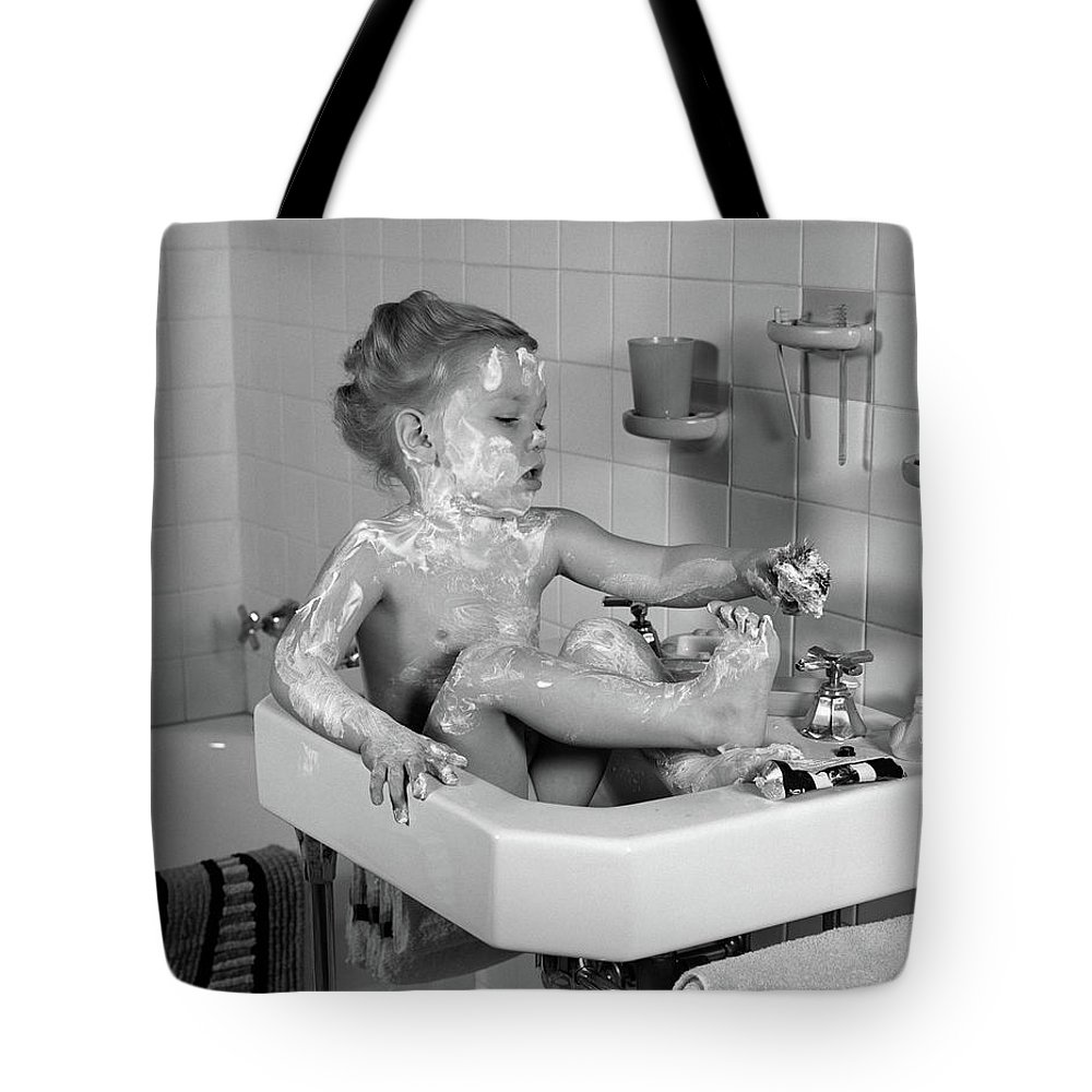 Photography Tote Bag featuring the photograph 1940s Girl Sitting In Sink Lathered by Vintage Images