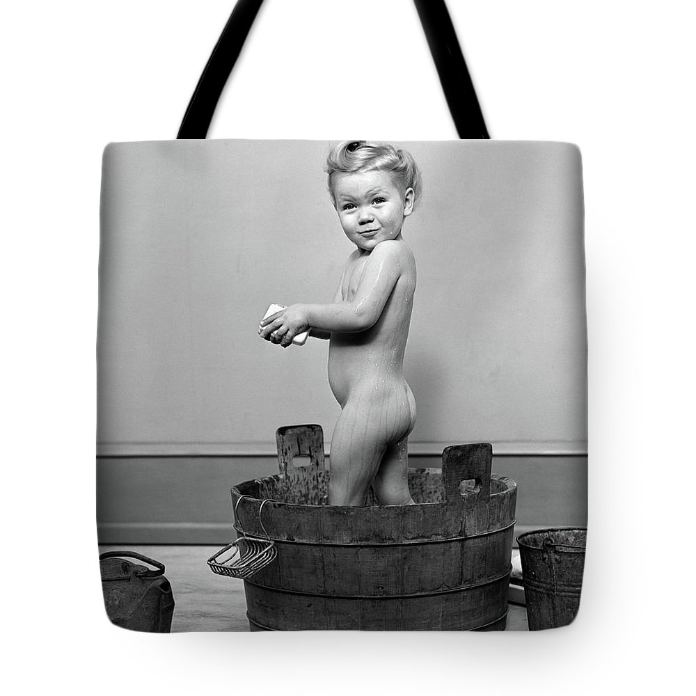 Photography Tote Bag featuring the photograph 1940s Little Blond Girl Standing by Vintage Images