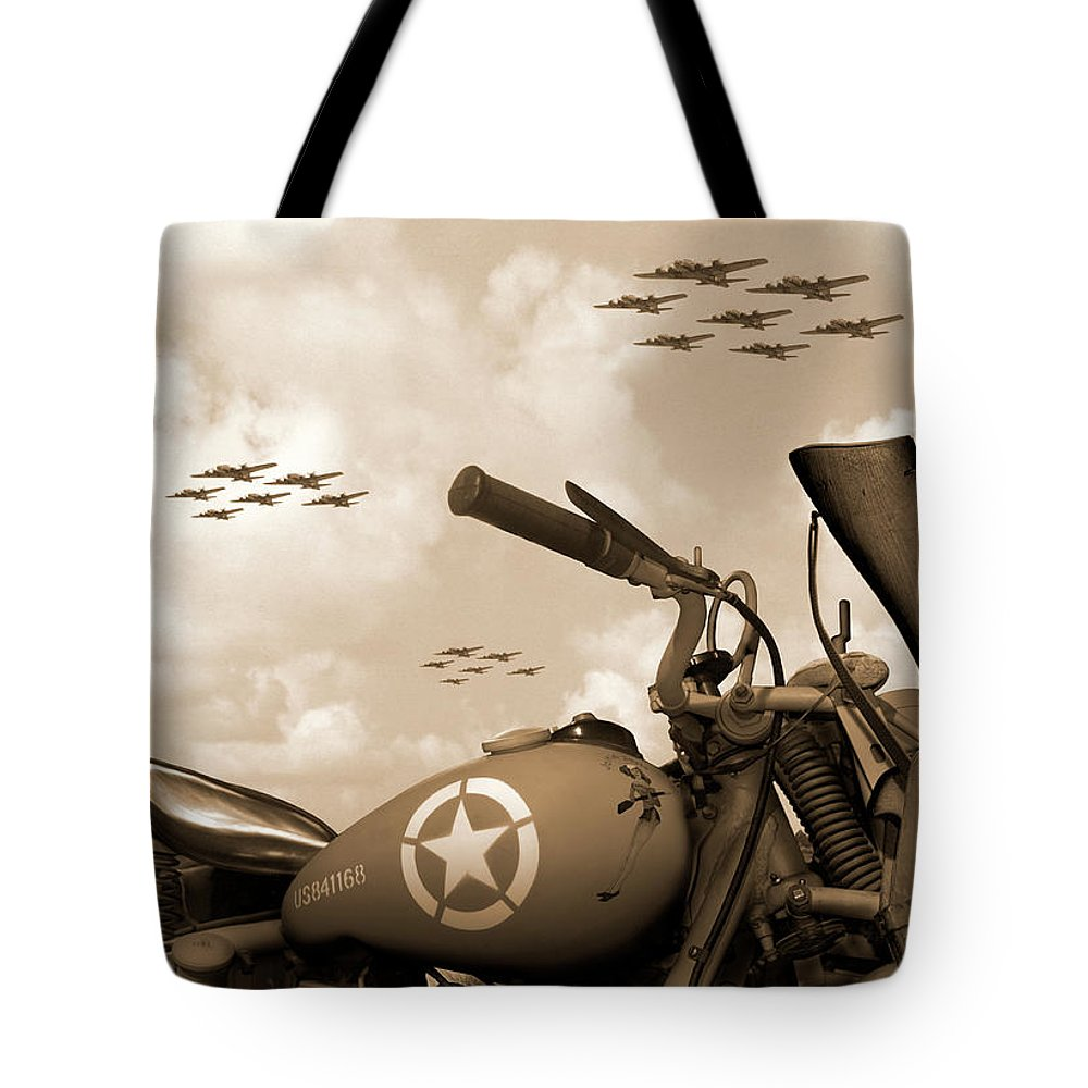Warbirds Tote Bag featuring the photograph 1942 Indian 841 - B-17 Flying Fortress' by Mike McGlothlen
