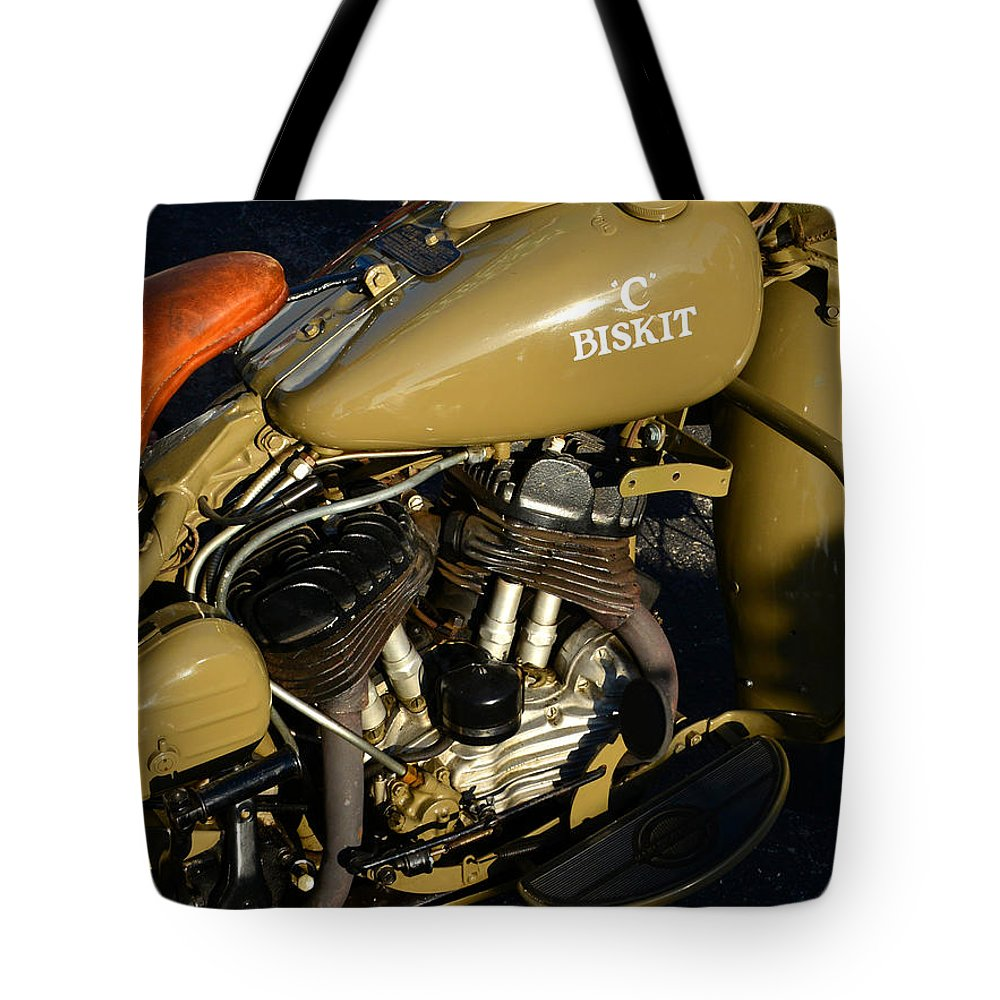 1942 Harley Davidson Motorcycle Tote Bag featuring the photograph 1942 Wla Harley Davidson by David Lee Thompson