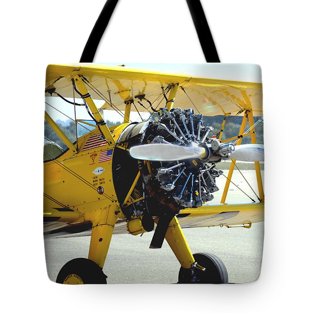 Barbara Snyder Tote Bag featuring the digital art 1943 Boeing Super Stearman 2 by Barbara Snyder