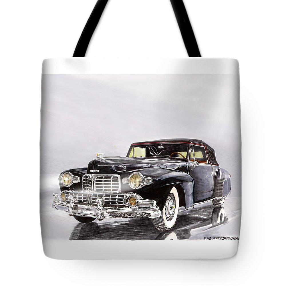 Classic Lincoln Continental Car Art Tote Bag featuring the painting 1946 Lincoln Continental by Jack Pumphrey