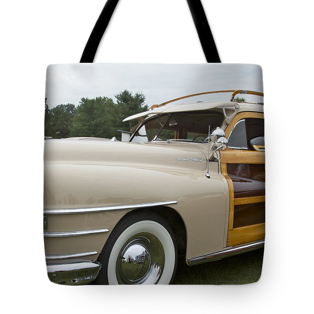 Antique Tote Bag featuring the pyrography 1947 Chrysler by Jack R Perry