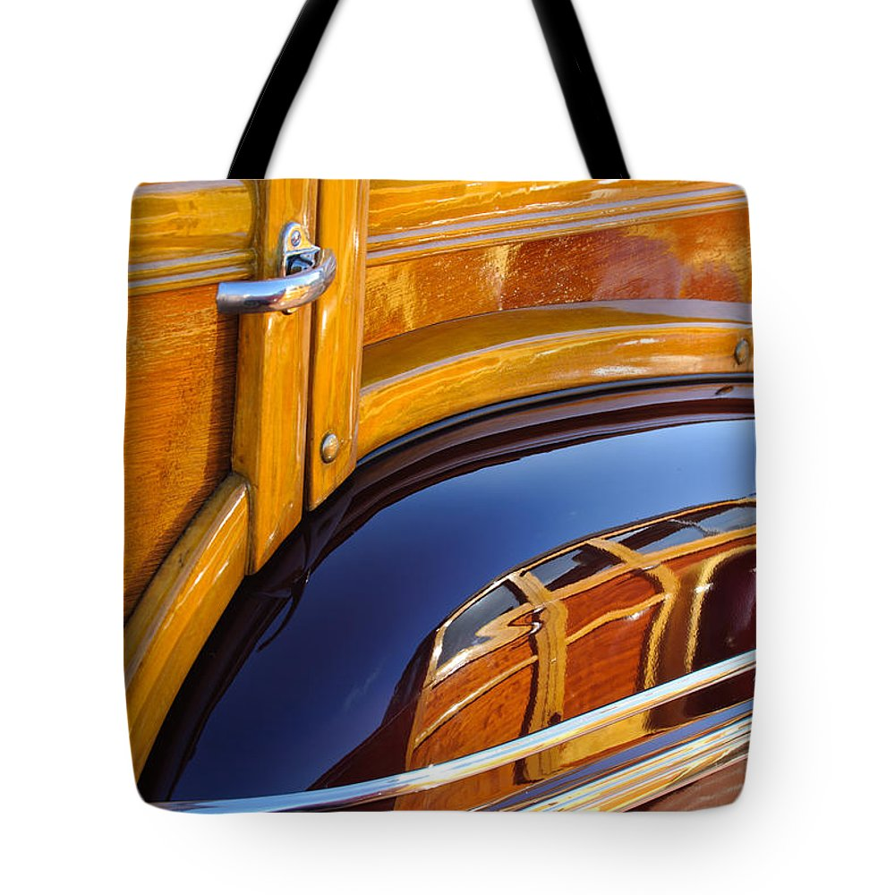 1947 Mercury Woody Reflecting Into 1947 Ford Woody Tote Bag featuring the photograph 1947 Mercury Woody Reflecting Into 1947 Ford Woody by Jill Reger