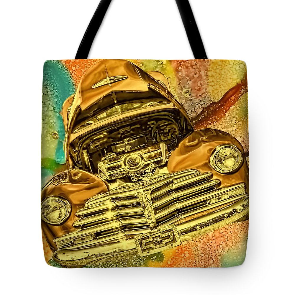 1948 Tote Bag featuring the photograph 1948 Chev Gold Tie Dye Tilt Car Art by Lesa Fine
