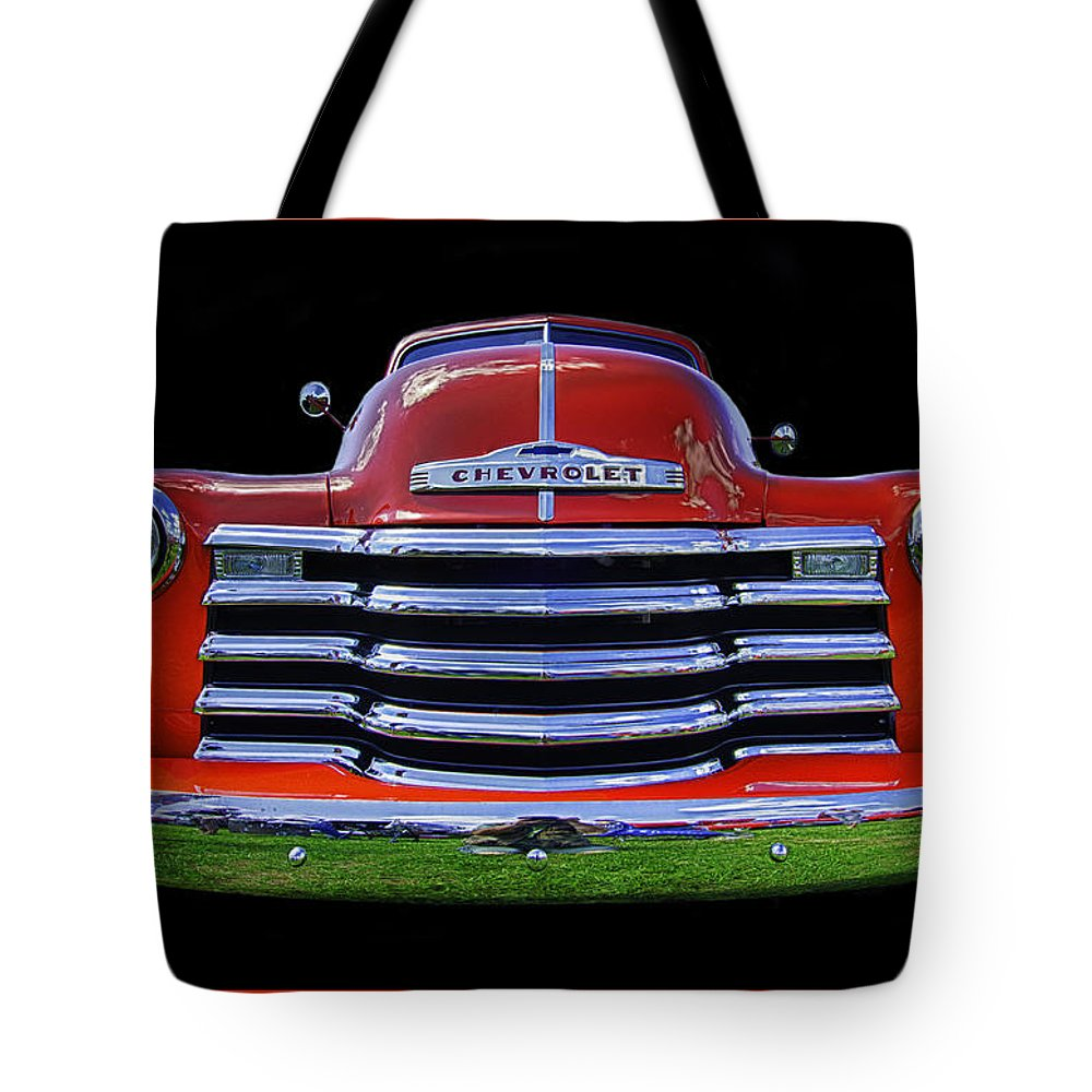 1948 Tote Bag featuring the photograph 1948 Chevy Pickup W/badge by Jay Droggitis