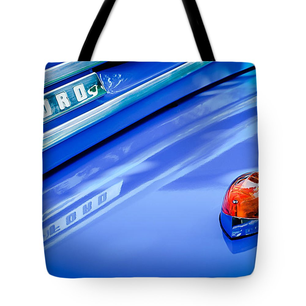 1949 Ford F-1 Pickup Truck Emblem Tote Bag featuring the photograph 1949 Ford F-1 Pickup Truck Emblem -0027c by Jill Reger