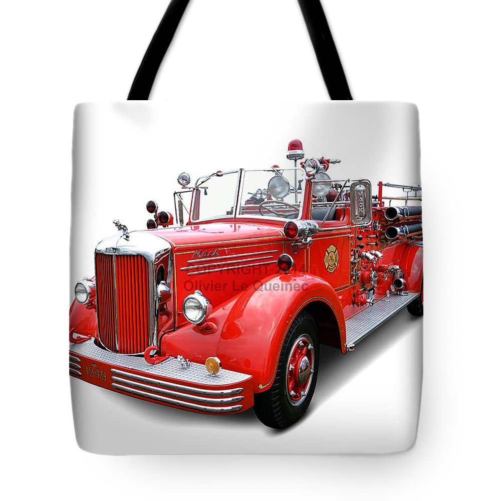 1949 Tote Bag featuring the photograph 1949 Mack Fire Truck by Olivier Le Queinec