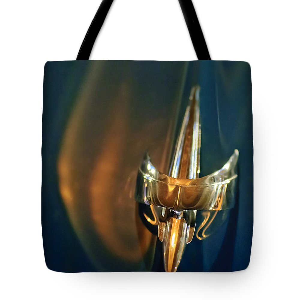 1949 Mercury Woody Wagon Tote Bag featuring the photograph 1949 Mercury Woody Wagon Hood Ornament by Jill Reger