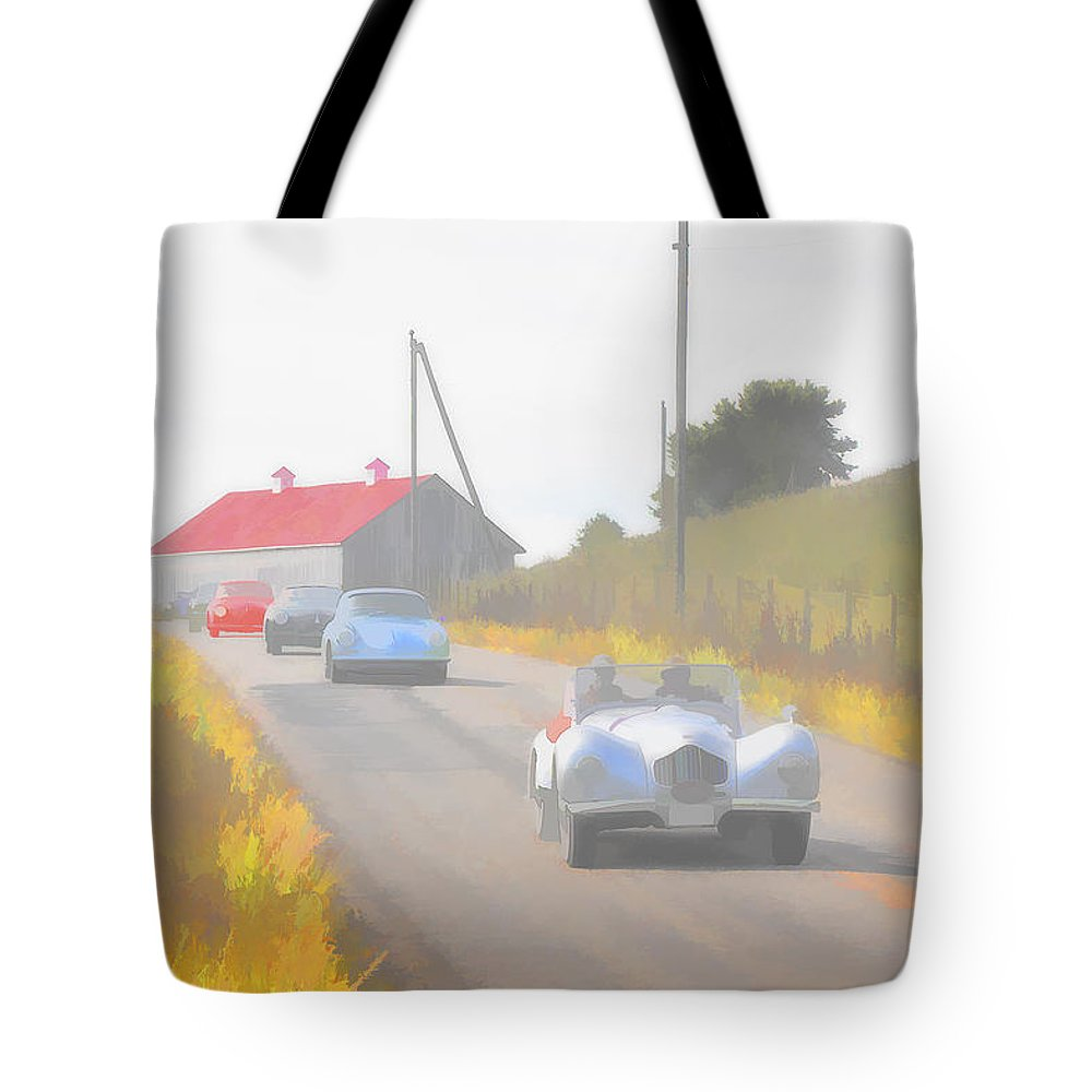 Allard Tote Bag featuring the photograph 1950 Allard K2 Roadster And Porsche 356's by Jack R Perry