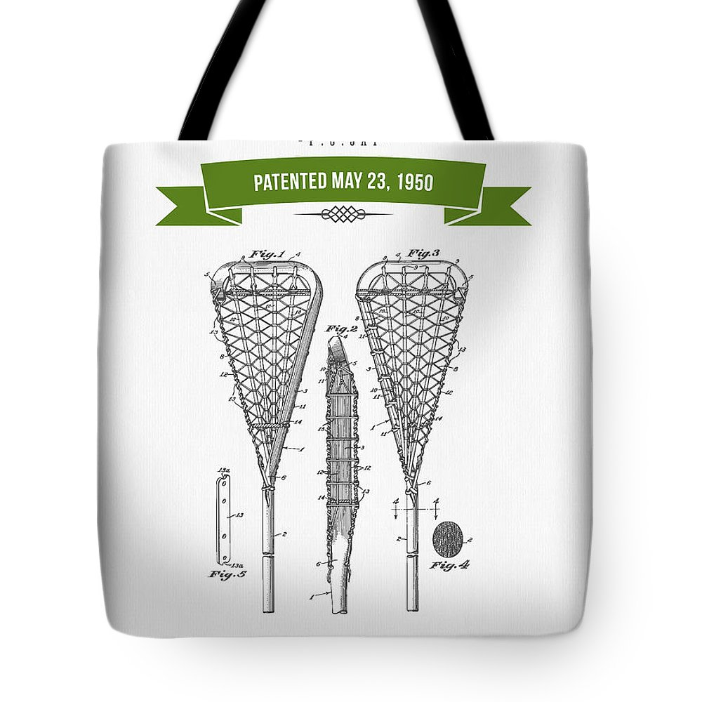 Lacrosse Tote Bag featuring the digital art 1950 Lacrosse Stick Patent Drawing - Retro Green by Aged Pixel