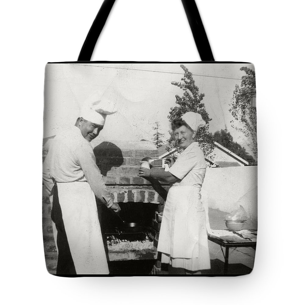 Chef Tote Bag featuring the photograph 1950's Cooking In America by Kristina Deane