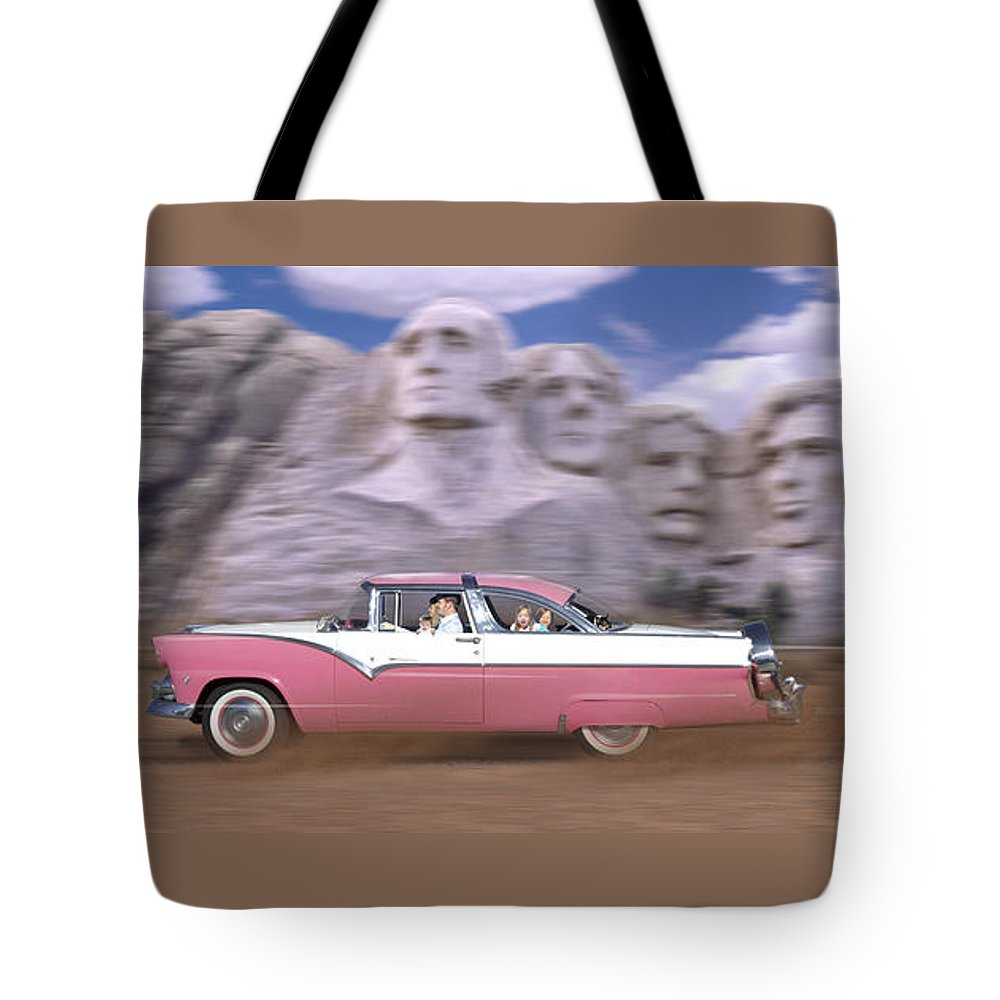 Family Vacation Tote Bag featuring the photograph 1950s Family Vacation Panoramic by Mike McGlothlen