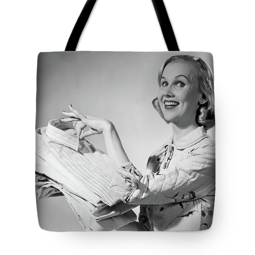 Photography Tote Bag featuring the photograph 1950s Proud Smiling Woman Housewife by Vintage Images