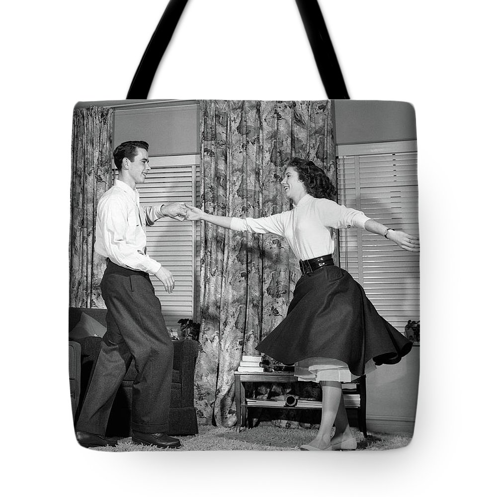 Photography Tote Bag featuring the photograph 1950s Teen Boy And Girl Jitterbug by Vintage Images