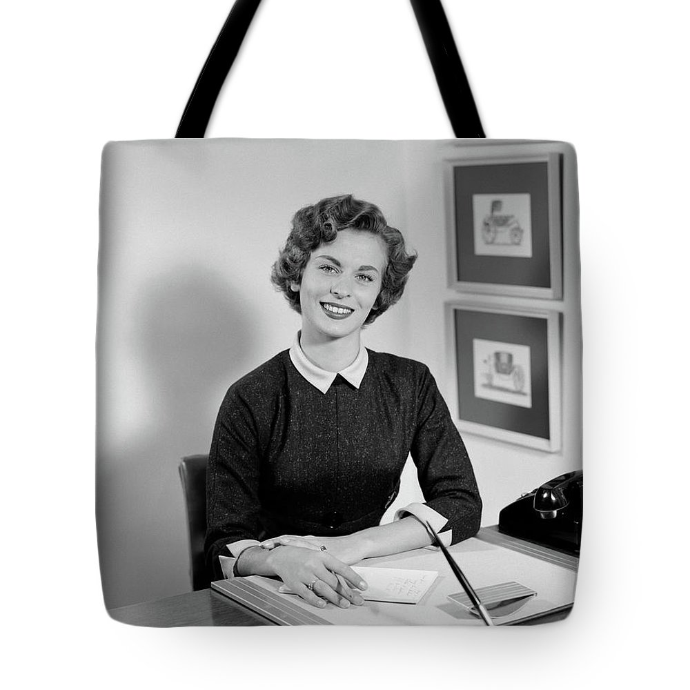 Photography Tote Bag featuring the photograph 1950s Woman Sitting At Information Desk by Vintage Images