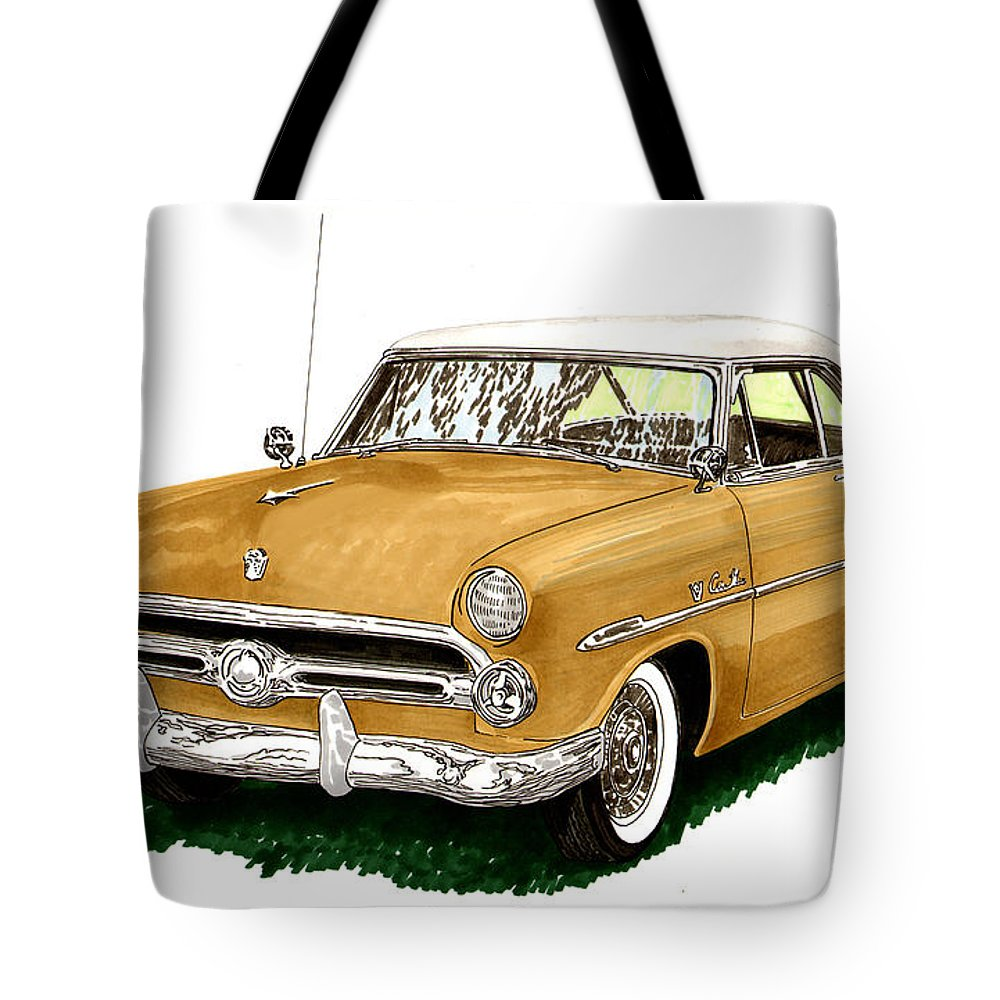 Classic Car Art Tote Bag featuring the painting 1952 Ford Victoria by Jack Pumphrey