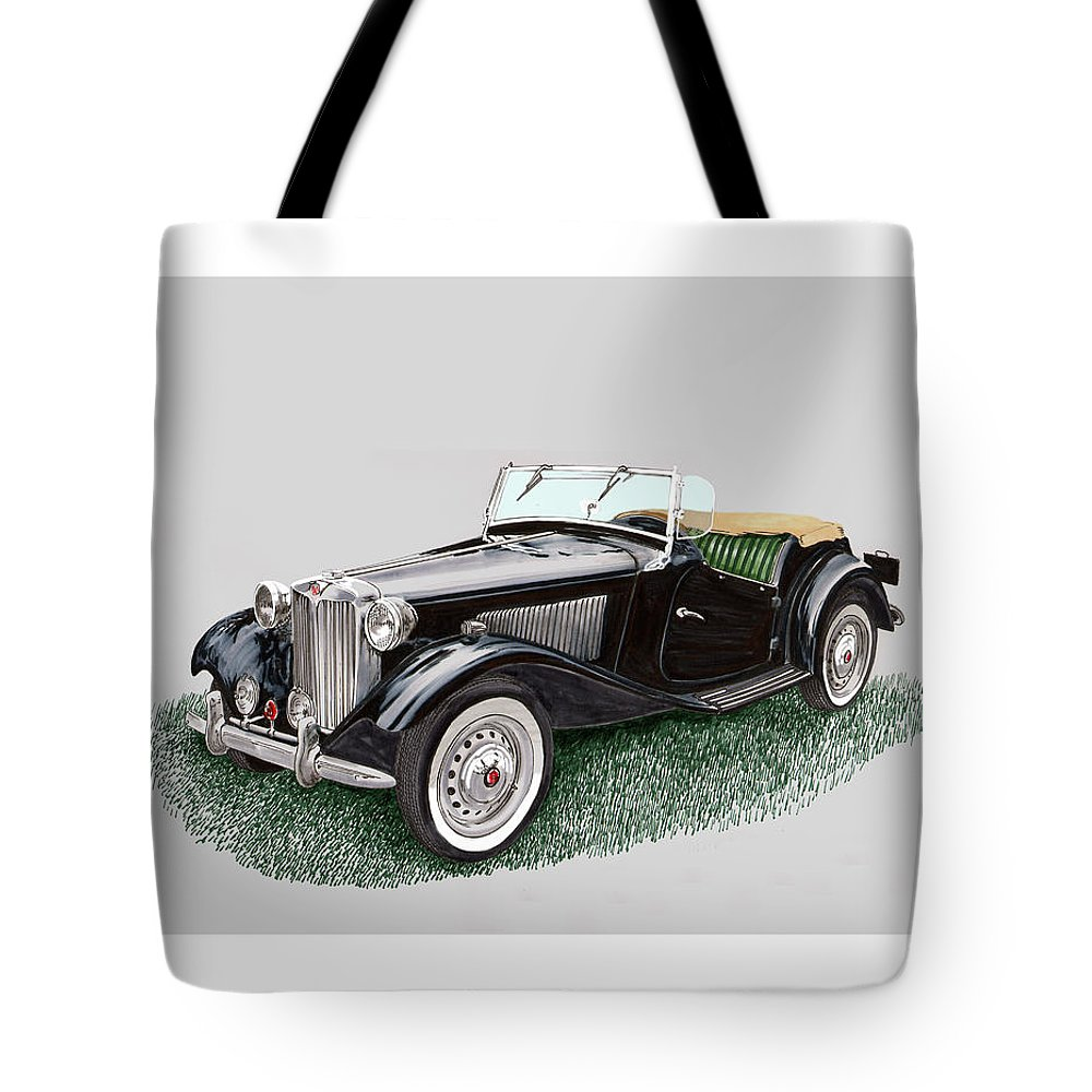 A Watercolor Painting Of A 1953 Mg Td Tote Bag featuring the painting Mg T D 1953 by Jack Pumphrey