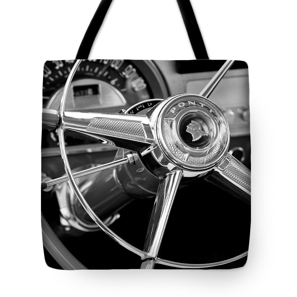 1953 Pontiac Tote Bag featuring the photograph 1953 Pontiac Steering Wheel 2 by Jill Reger