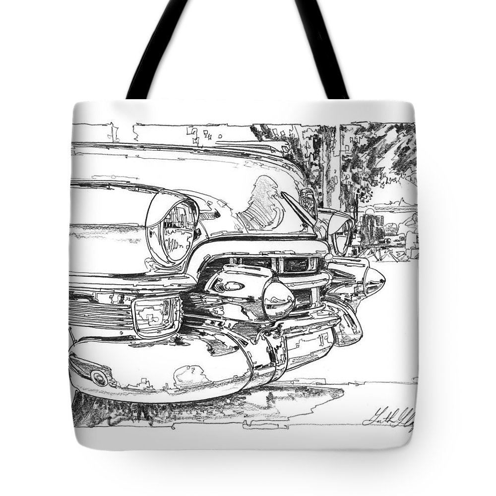 Graphite Drawing Tote Bag featuring the drawing 1954 Cadillac Study 1954 by Garth Glazier