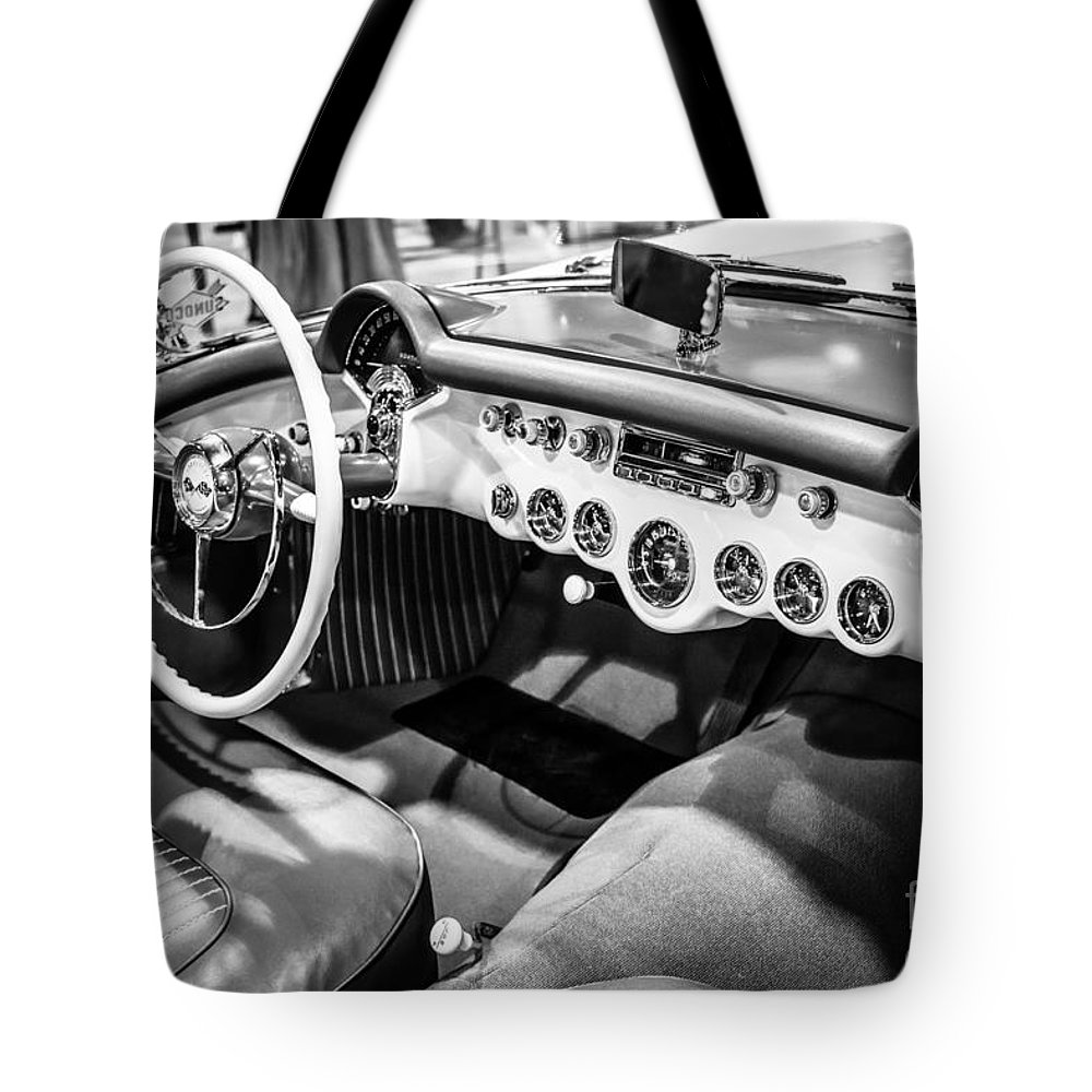 1950's Tote Bag featuring the photograph 1954 Chevrolet Corvette Interior Black And White Picture by Paul Velgos