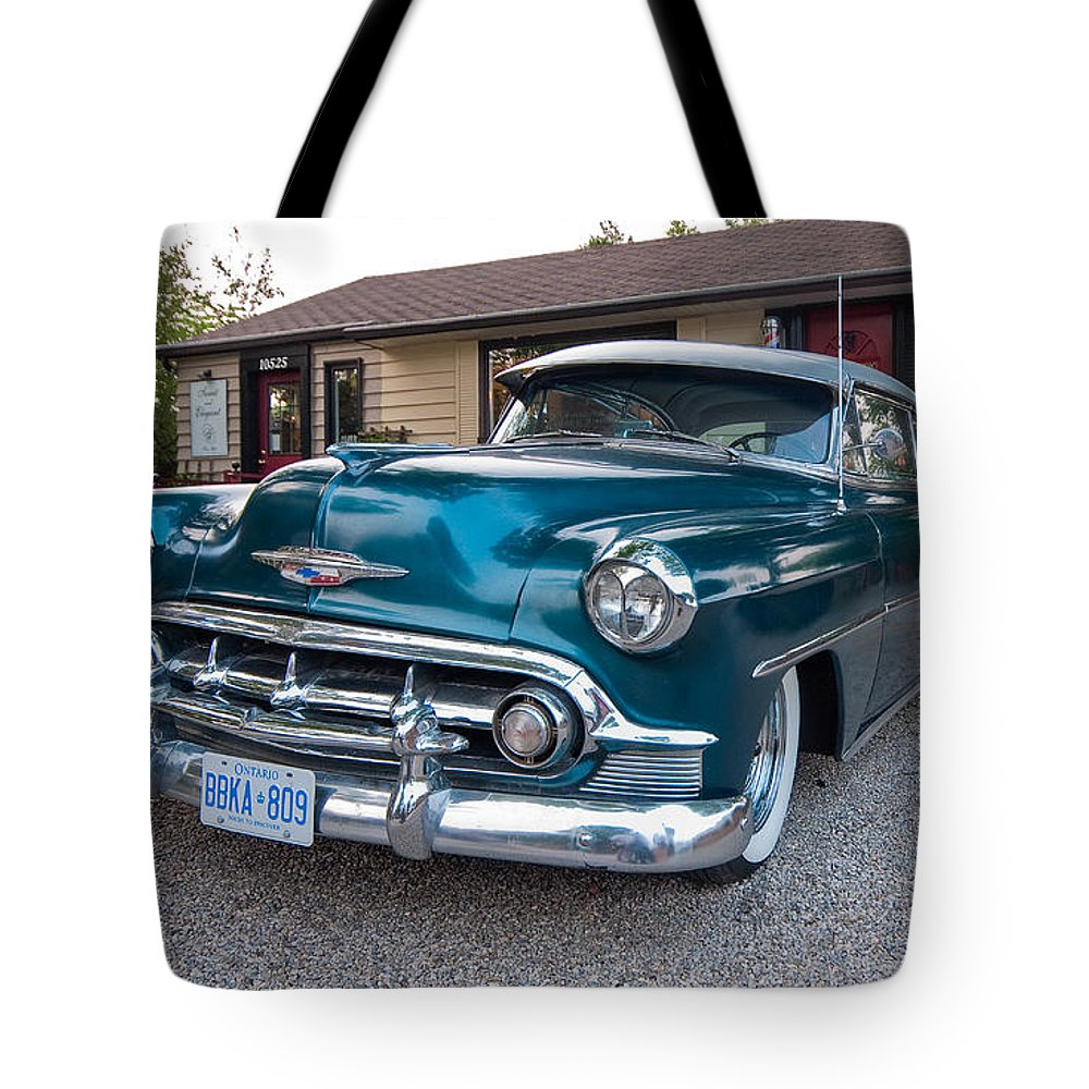 1954 Chevy Bel Air Tote Bag For Sale By Steve Harrington Chevrolet Classic Featuring The Photograph