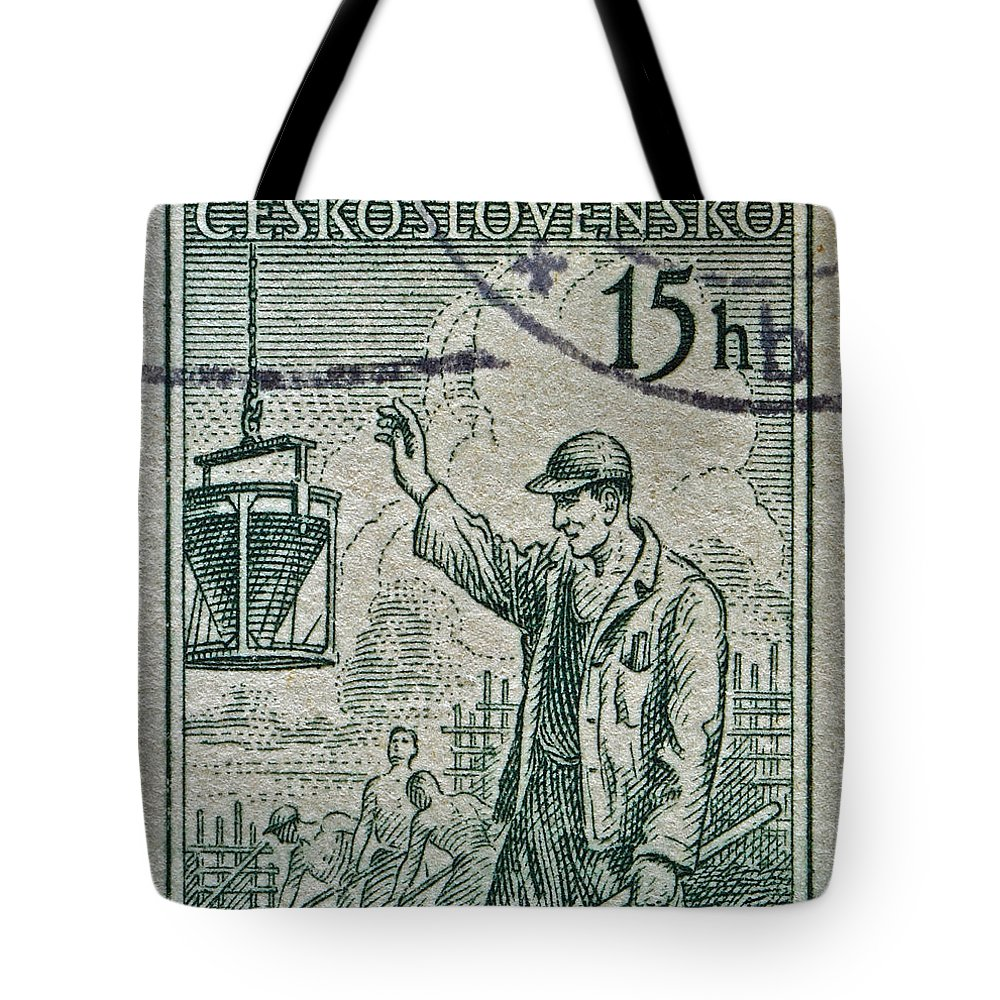 1954 Tote Bag featuring the photograph 1954 Czechoslovakian Construction Worker Stamp by Bill Owen