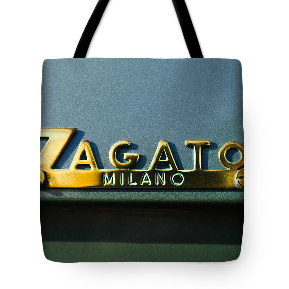 1955 Fiat 8v Zagato Emblem Tote Bag featuring the photograph 1955 Fiat 8v Zagato Emblem by Jill Reger