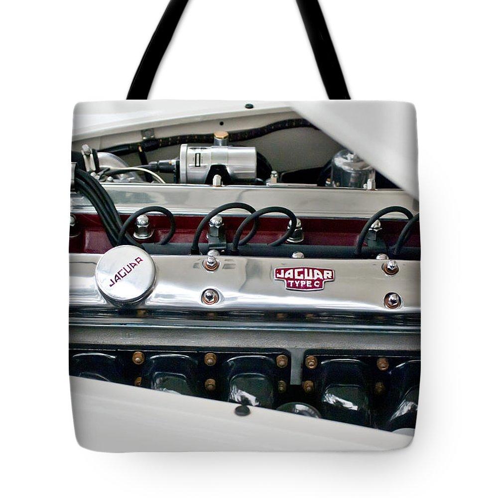 1955 Jaguar Tote Bag featuring the photograph 1955 Jaguar Engine by Jill Reger