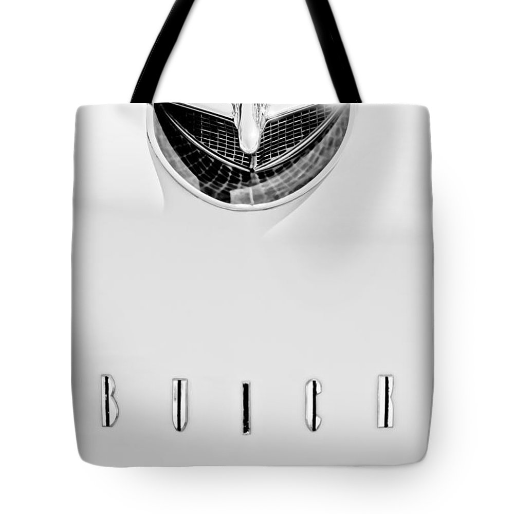 1956 Buick Special Hood Ornament Tote Bag featuring the photograph 1956 Buick Special Hood Ornament - Emblem by Jill Reger