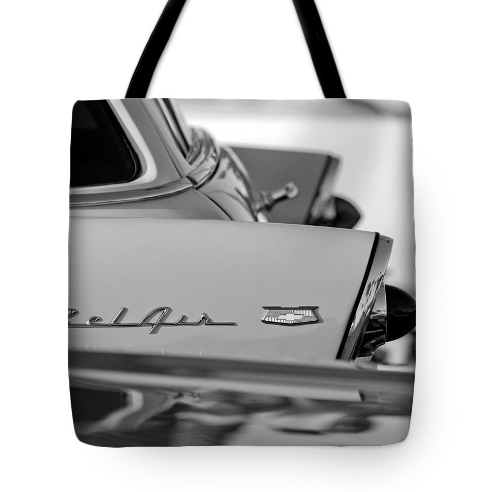 1956 Chevrolet Belair Nomad Rear End Emblem Tote Bag featuring the photograph 1956 Chevrolet Belair Nomad Rear End Emblem by Jill Reger