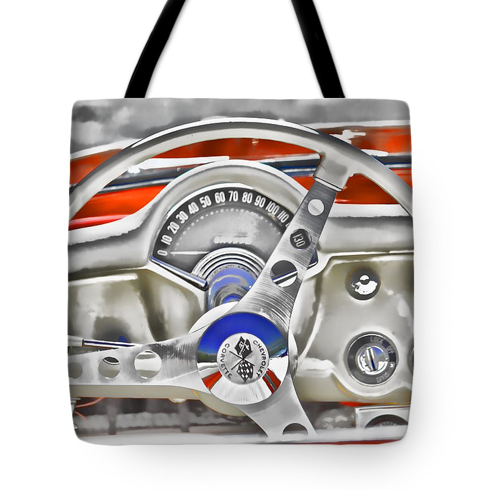 Chevy Tote Bag featuring the photograph 1956 Chevy Corvette Dash Wowc by Kevin Anderson